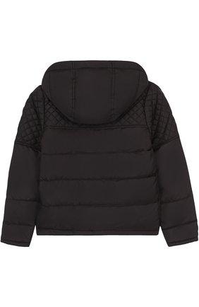 Стеганая куртка с капюшоном и косой молнией Karl Lagerfeld Kids черного цвета | Фото №1