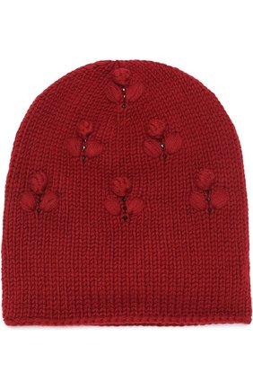 Кашемировая шапка фактурной вязки с бусинами   Фото №1