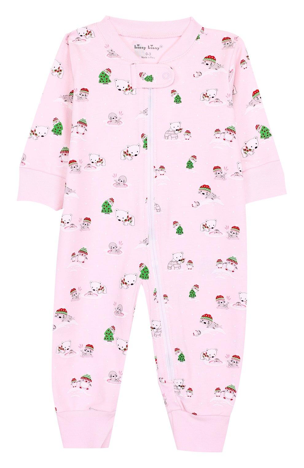 Детский хлопковая пижама с принтом KISSY KISSY розового цвета, арт. F17434-205P   Фото 1