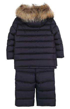Детского комплект из пуховой куртки с капюшоном и брюк на подтяжках MONCLER ENFANT темно-синего цвета, арт. C2-954-70339-25-68352/4-6A | Фото 2