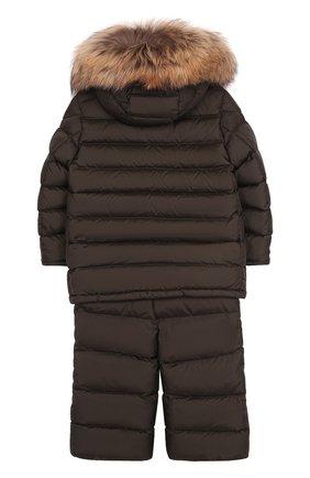 Детского комплект из пуховой куртки с капюшоном и брюк на подтяжках MONCLER ENFANT хаки цвета, арт. C2-954-70339-25-68352/4-6A | Фото 2