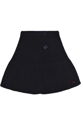 Мини-юбка с плиссированной вставкой и декоративными пуговицами | Фото №1