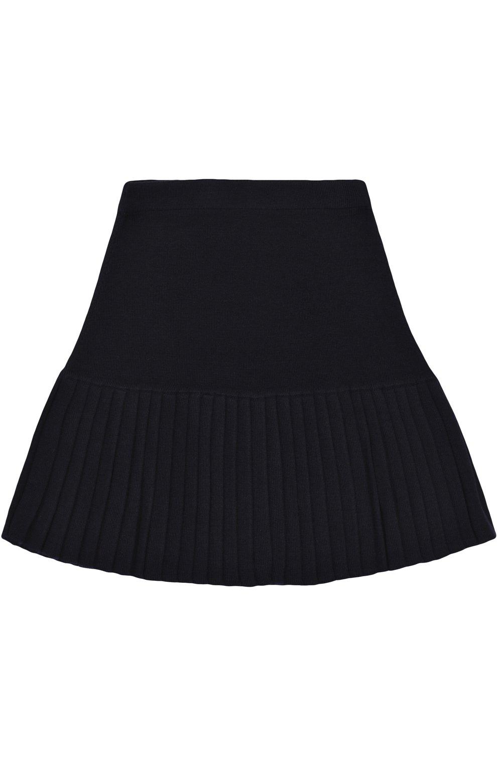 Мини-юбка с плиссированной вставкой и декоративными пуговицами | Фото №2