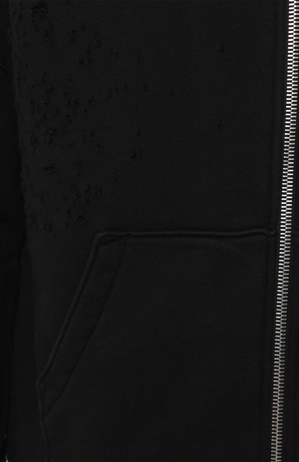 Хлопковая толстовка на молнии с потертостями | Фото №5