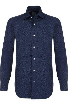 Хлопковая рубашка с воротником кент Barba синяя | Фото №1