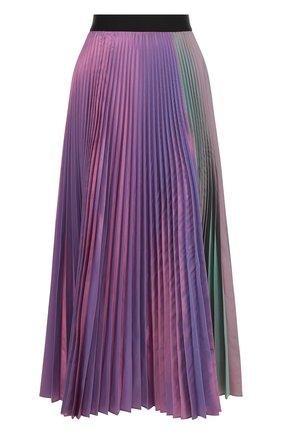 Плиссированная юбка-миди с контрастным поясом | Фото №1