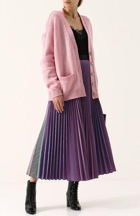 Плиссированная юбка-миди с контрастным поясом Christopher Kane разноцветная | Фото №1