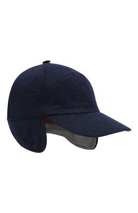 Мужской кашемировая бейсболка LORO PIANA темно-синего цвета, арт. FAG4762 | Фото 1