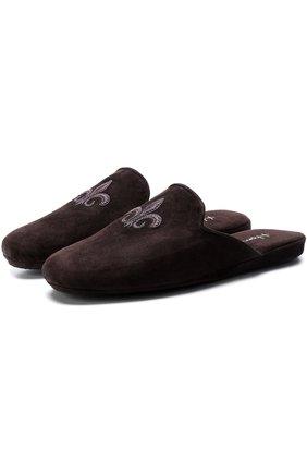 Домашние замшевые туфли с вышивкой | Фото №1