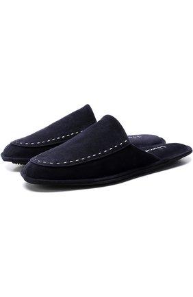 Домашние замшевые туфли с прострочкой | Фото №1