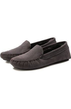 Домашние туфли с внутренней отделкой из овчины Homers At Home серые | Фото №1