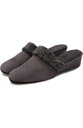 Замшевые домашние туфли с внутренней отделкой из овчины | Фото №1