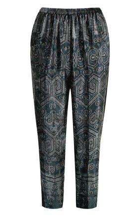 Укороченные брюки с лампасами и принтом | Фото №1