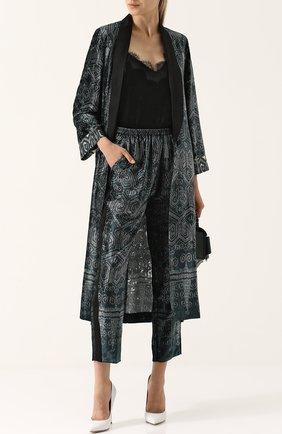 Укороченные брюки с лампасами и принтом Forte_forte зеленые   Фото №1