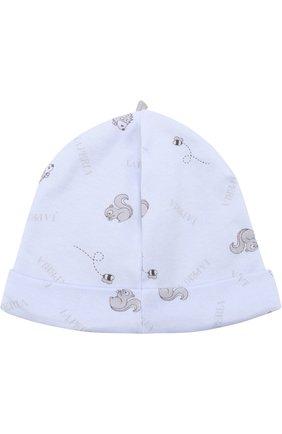 Детского хлопковая шапка с принтом LA PERLA голубого цвета, арт. 52546/1M-12M | Фото 2