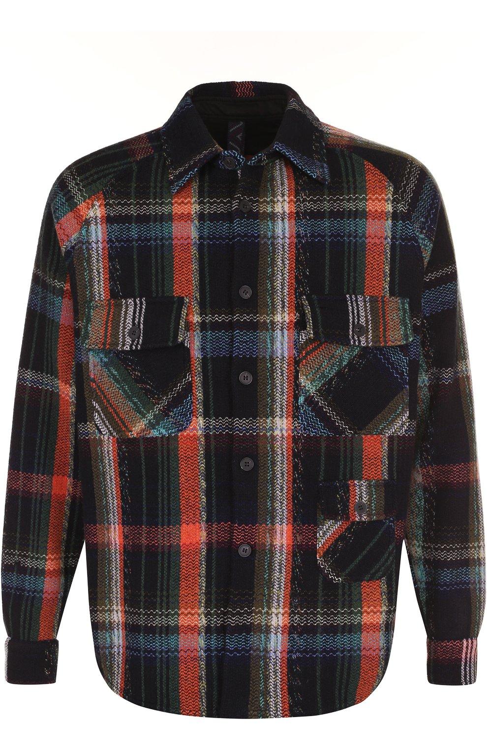 2a71a1e4b36 Мужская разноцветная шерстяная рубашка в клетку свободного кроя ...