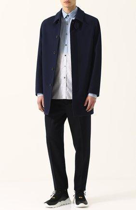 Шерстяное пальто на пуговицах прямого кроя Mackintosh темно-синего цвета | Фото №1