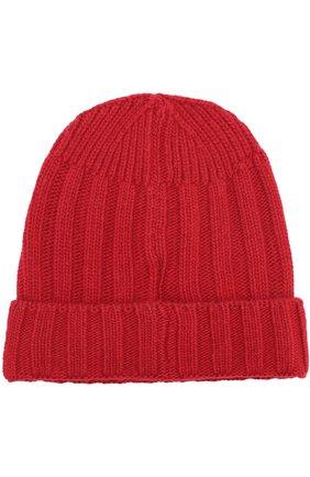 Шерстяная шапка фактурной вязки Woolrich красного цвета | Фото №1