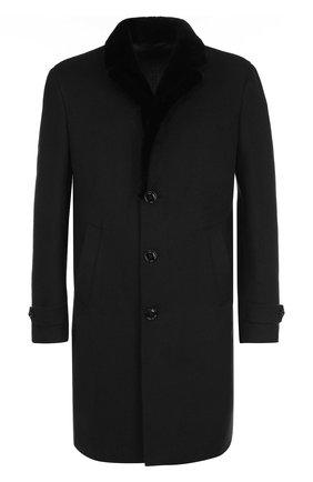 Однобортное кашемировое пальто с меховой отделкой воротника | Фото №1