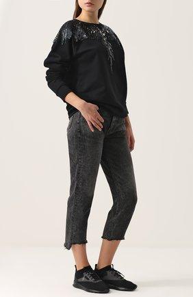 Текстильные кроссовки на шнуровке Marcelo Burlon черные   Фото №1