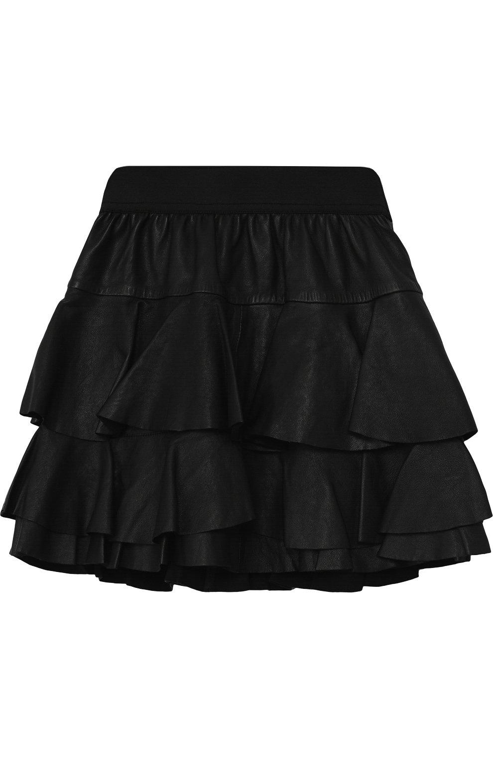 Кожаная мини-юбка с оборками | Фото №1