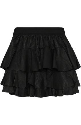 Кожаная мини-юбка с оборками | Фото №2