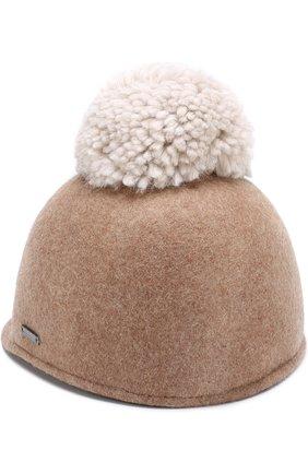 Шляпа с помпоном Woolrich бежевого цвета | Фото №1
