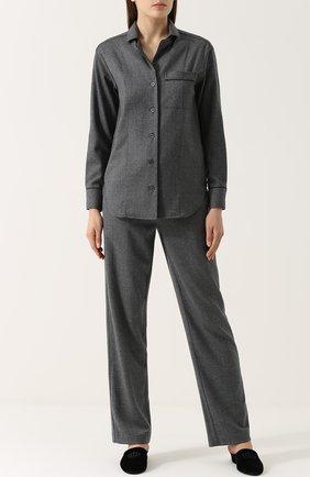 Шерстяные брюки прямого кроя Morpho&Luna темно-серые | Фото №1