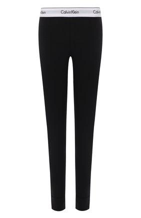Женские однотонные леггинсы с логотипом бренда CALVIN KLEIN черного цвета, арт. D1632E | Фото 1