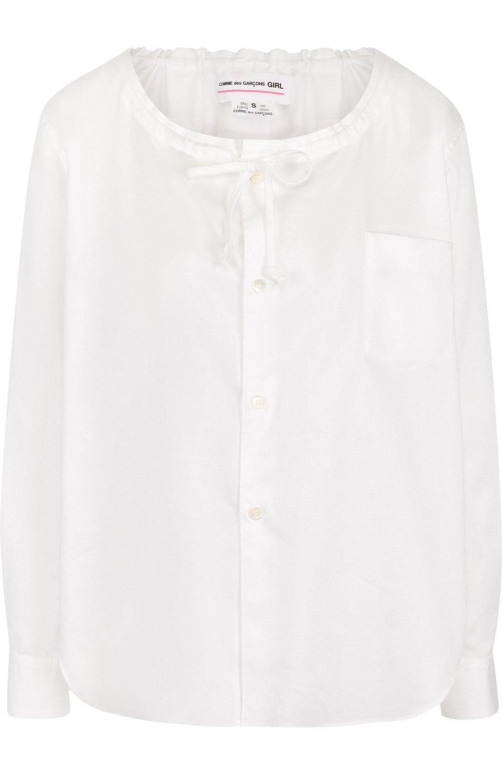 Хлопковая блуза с круглым вырезом | Фото №1