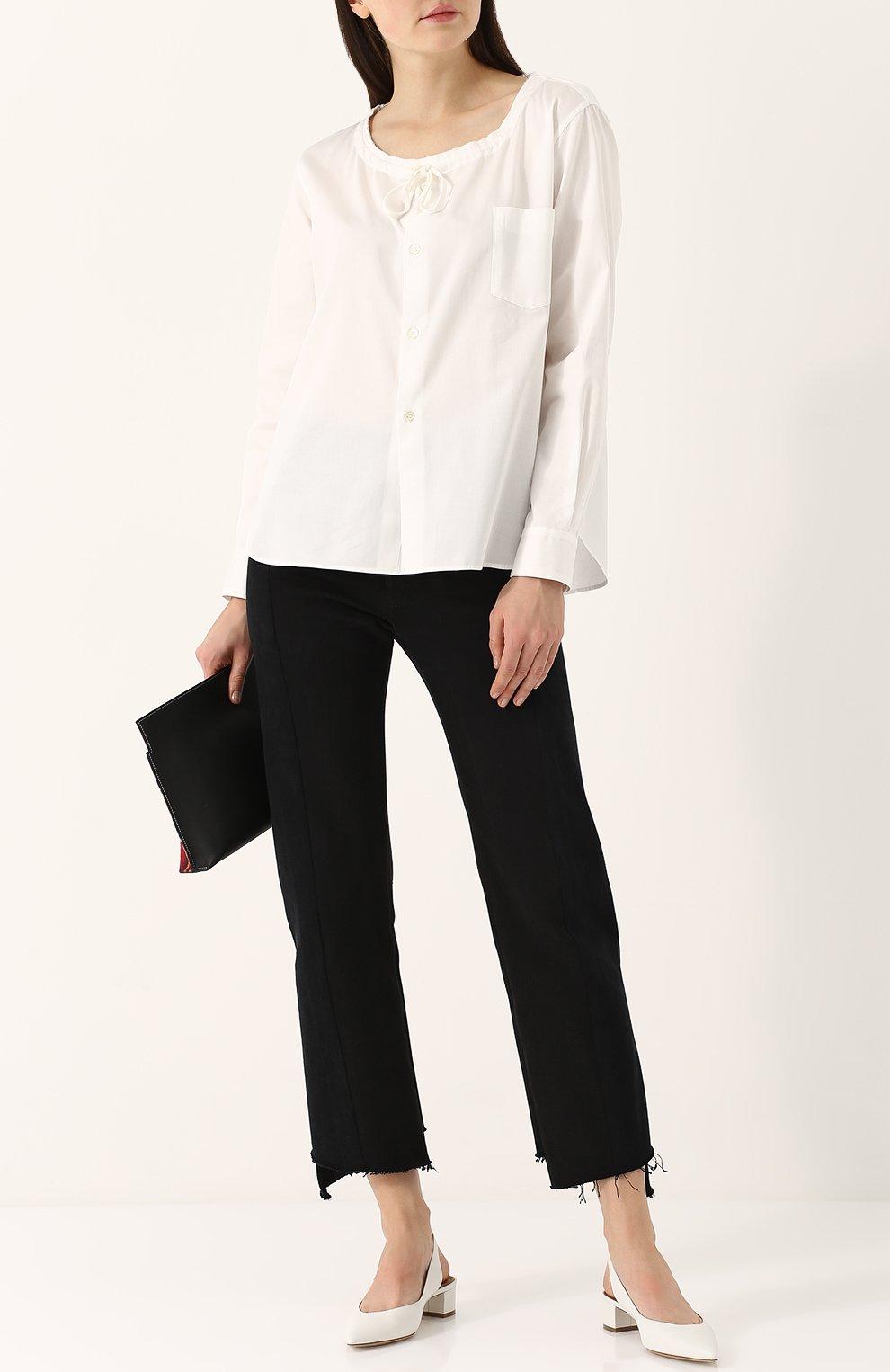 Хлопковая блуза с круглым вырезом | Фото №2