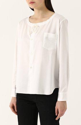 Хлопковая блуза с круглым вырезом | Фото №3