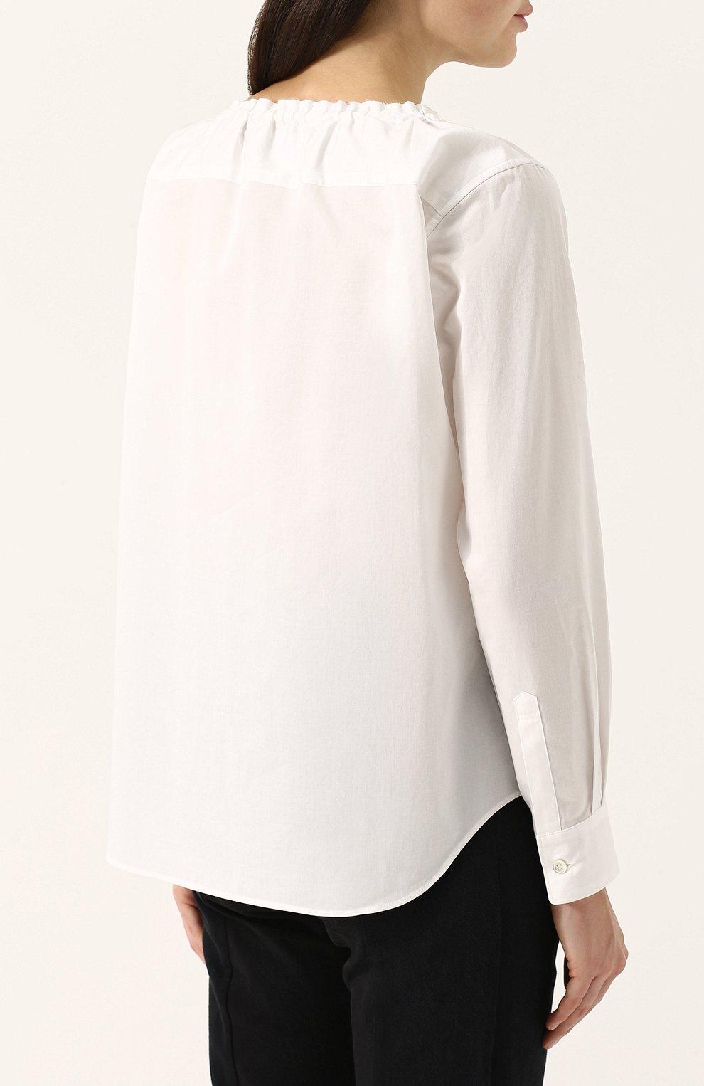 Хлопковая блуза с круглым вырезом | Фото №4