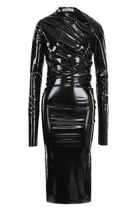 Однотонное платье-футляр с драпировкой | Фото №1