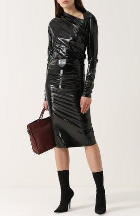 Однотонное платье-футляр с драпировкой A.F.Vandevorst черное | Фото №1