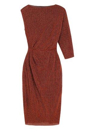 Платье асимметричного кроя с драпировкой A.F.Vandevorst бронзовое | Фото №1