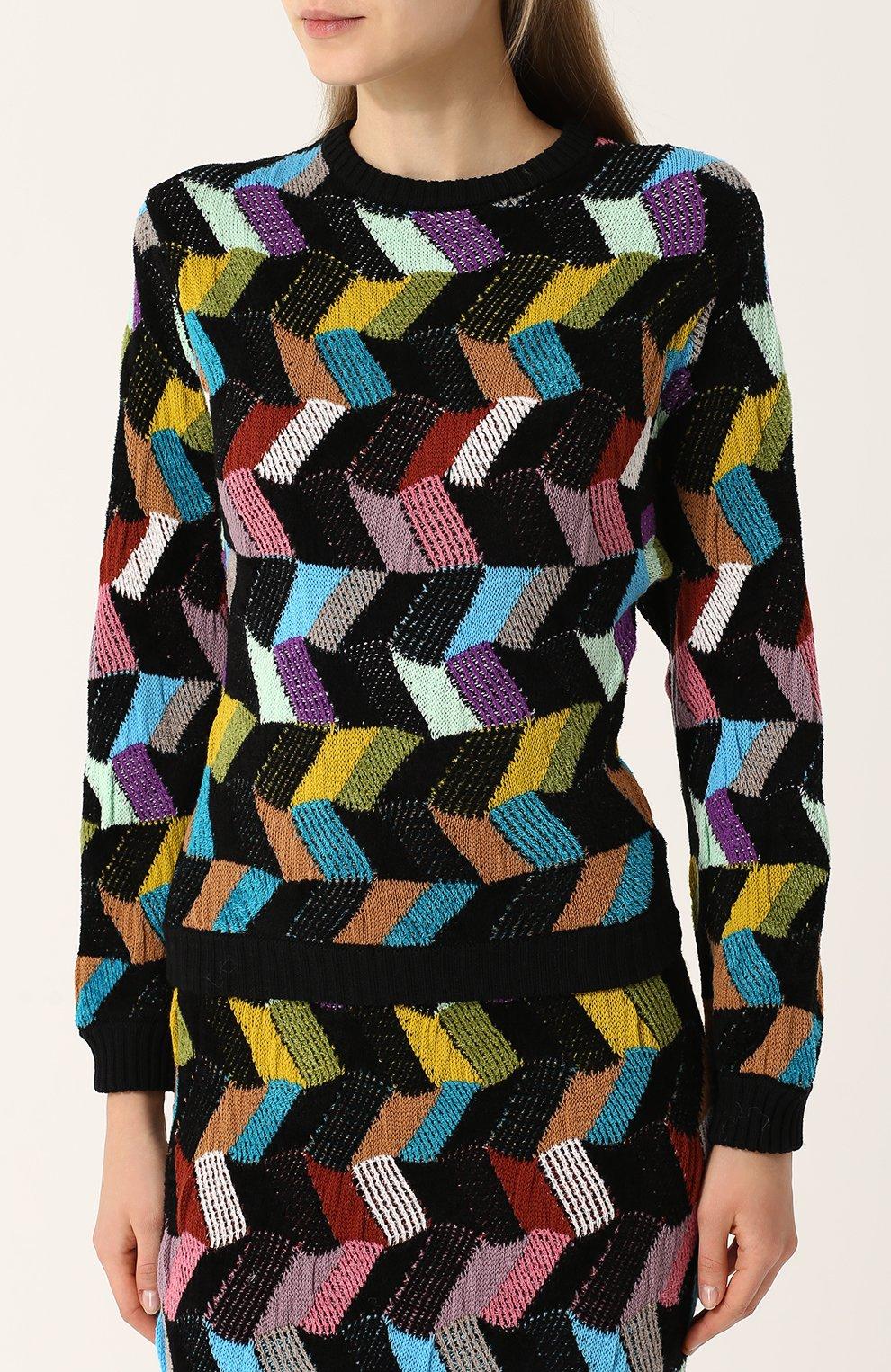 Шерстяной пуловер с круглым вырезом Missoni разноцветный | Фото №3