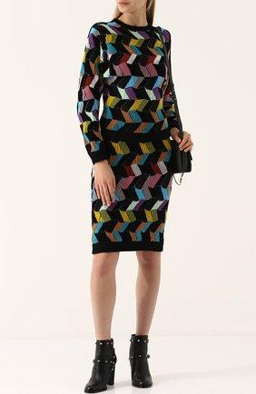Шерстяная юбка-миди фактурной вязки | Фото №2