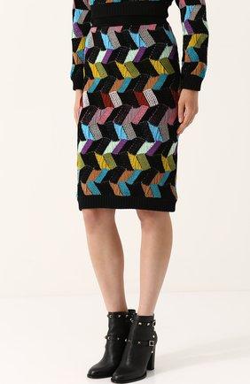 Шерстяная юбка-миди фактурной вязки | Фото №3