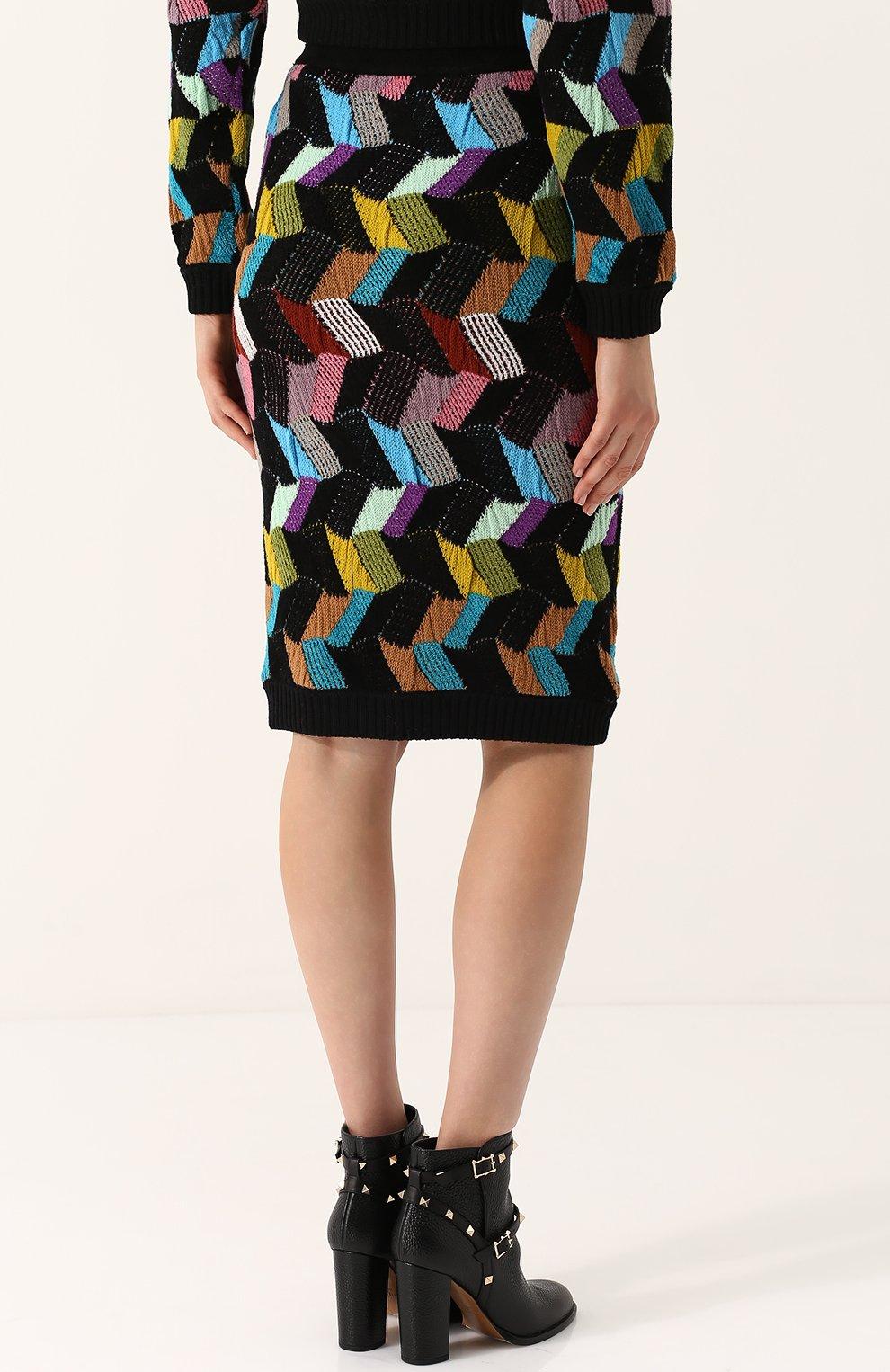 Шерстяная юбка-миди фактурной вязки | Фото №4