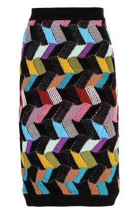 Шерстяная юбка-миди фактурной вязки Missoni кремовая | Фото №1