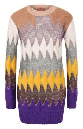Удлиненный пуловер с круглым вырезом | Фото №1