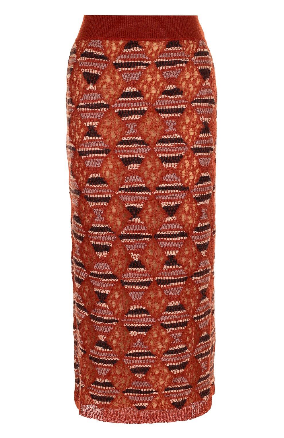 Шерстяная юбка-миди с широким поясом | Фото №1