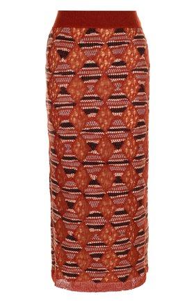 Шерстяная юбка-миди с широким поясом Missoni оранжевая | Фото №1