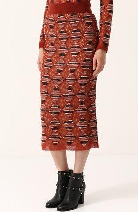 Шерстяная юбка-миди с широким поясом Missoni оранжевая | Фото №3