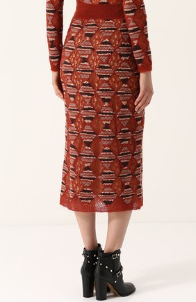 Шерстяная юбка-миди с широким поясом Missoni оранжевая | Фото №4