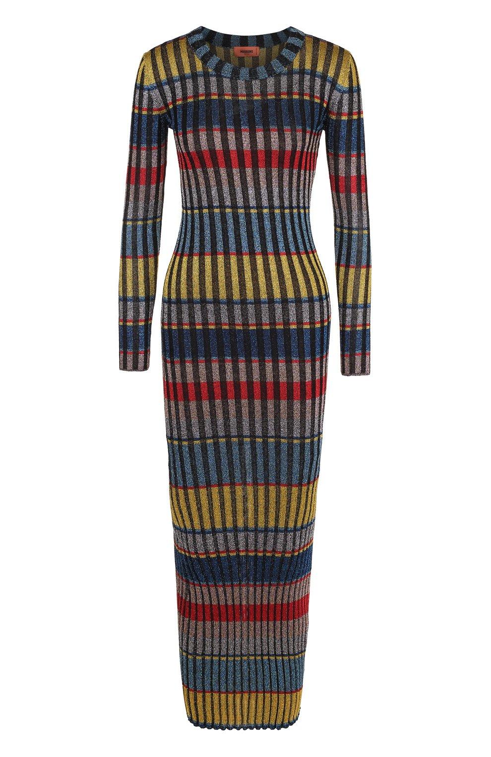 Вязаное платье-макси с длинным рукавом | Фото №1