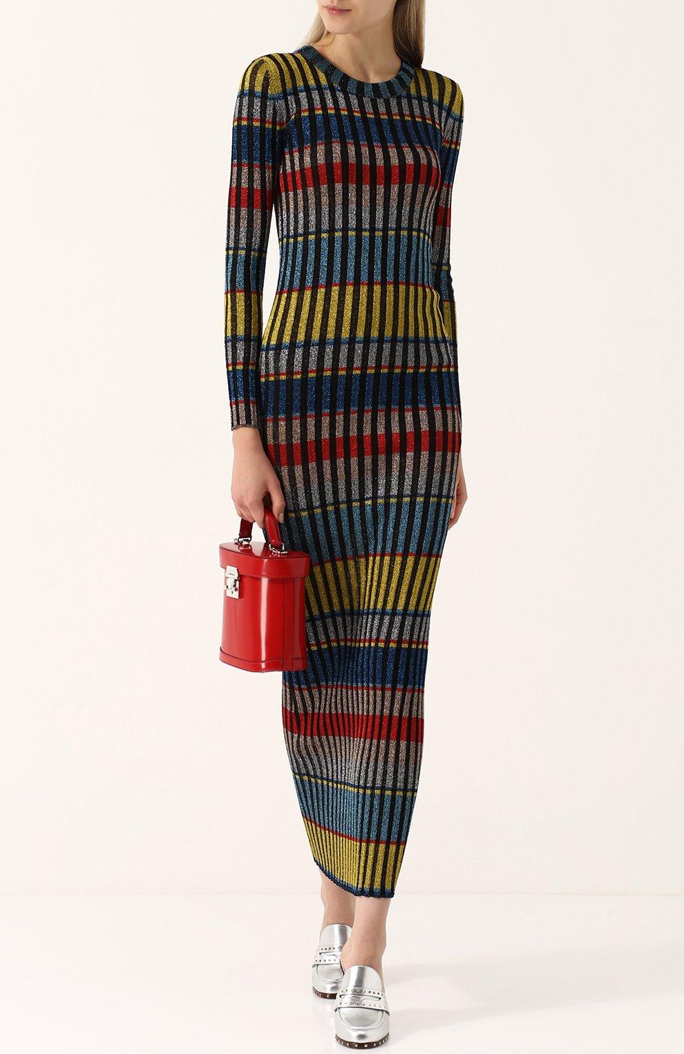 Вязаное платье-макси с длинным рукавом | Фото №2