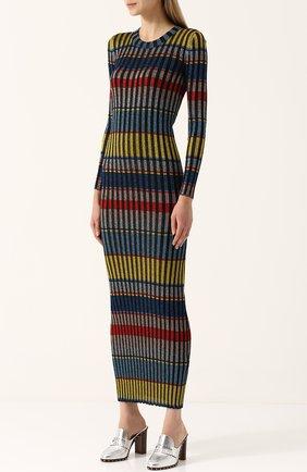 Вязаное платье-макси с длинным рукавом | Фото №3