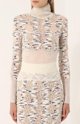 Приталенный шерстяной свитер с высоким вырезом | Фото №3
